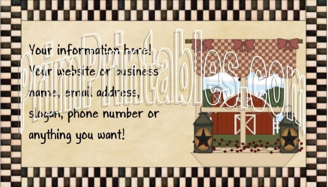 Country Barn Window Customized U Print Business Card File PDF and ...