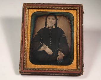 Daguerreotype of a Fashionable Woman in Black, 19th Century Antique Photo in Half Backing Case
