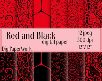 Red and Black Digital Paper Fluorescent red color background scrapbooking red pattern Instant download pattern Personal and Commercial Use