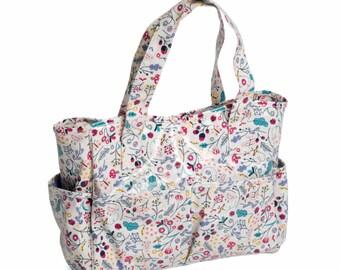 Hobbygift Springtime Floral Pattern PVC Craft Storage Bag