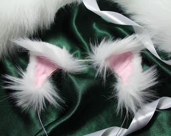 Kitty Ears, Cat Ears, White and pink Kawaii Neko, Luxury Faux Fur, Cosplay, Anime, Furry