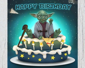 yoda birthday card etsy. Black Bedroom Furniture Sets. Home Design Ideas