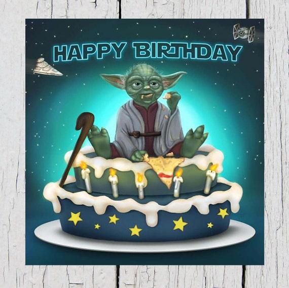 Star Wars Birthday Card Yoda Birthday Card Feel The Force