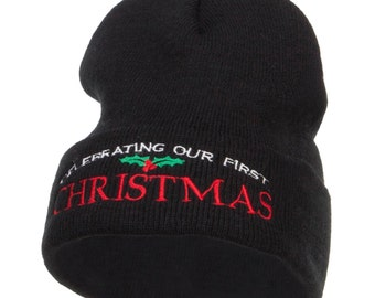 Celebrating First Christmas Embroidered Long Beanie