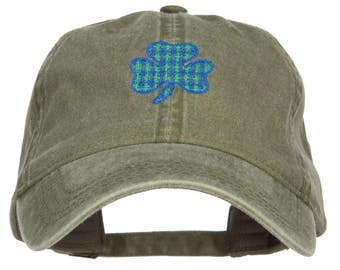 Plaid Shamrock Embroidered Washed Cap