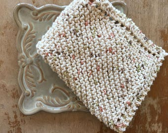 100% Cotton Handmade Knitted Dishcloth - Ecru with Specks of Brown, Coral, and Olive Green, Rustic, Farmhouse