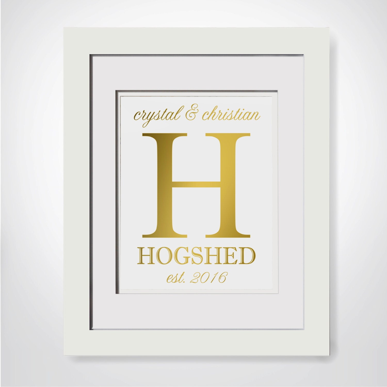 Last Name Wall Sign|Real Gold Foil Print|Foil Wedding Gift|Family ...