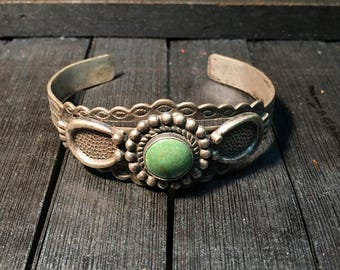 Navajo Vintage Sterling Silver/ Turquoise Cuff Bracelet  #120