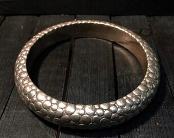 Vintage Sterling Silver Textured Bangle Bracelet   #138