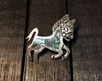 Vintage Mexican Sterling Silver/ Mother of Pearl Donkey Brooch   #249
