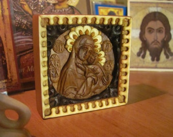 Carved icon of Holy Righteous Anna