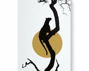 Digital art print of a leopard on canvas, art print of leopard, leopard art print , leopard on tree, leopard silhouette, leopard on canvas