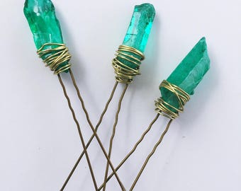 Aqua Quartz Hair Pins. Seaglass Hair Pins. Set of Three Hair Pins.