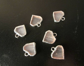 White Stained Glass Heart Charms