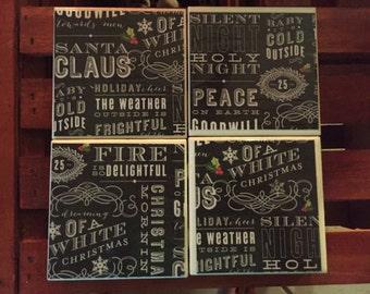 Set of 4 Christmas Themed tile coasters