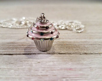 Pink Cupcake Charm Necklace