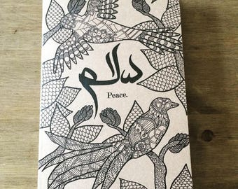 Salaam A5 Notebook, Birds of Paradise Illustration with Arabic Calligraphy, Gift, Islamic notebook