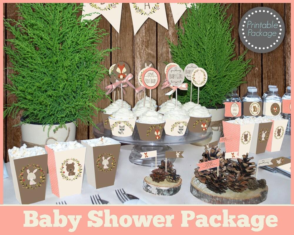 girl woodland baby shower printable mega set woodland baby