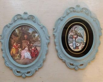 Set of 2 Vintage Prints set in Oval Shabby Chic Decorative Frames hand painted in Annie Sloan Duck Egg Blue Chalk Paint