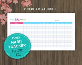 Daily Habit Tracker, Personal Planner, Printable Habit Tracker, Goal Planner, Monthly Planner, Habit Printable, PDF Productivity Goals