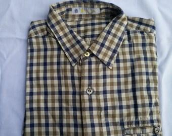 Vintage 90s Aquascutum of London Signature Brown Plaid Casual Short Shirt