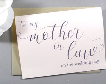 SHIMMER Card, To My MOTHER In Law on my Wedding Day Card, To My Mother In Law Card, Mother In Law Gift, Mother of the Bride Card