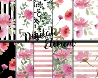 Digital Watercolor Paper, Digital Paper, Shabby Watercolor Rose Paper, Shbby Chic Scrapbook Paper, Pink Shabby Watercolor Roses. No. P156