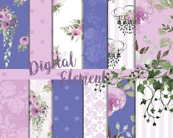 ON SALE Scrapbook Paper, Digital Paper, Perriwinkle Blue Floral Paper, Lavender Floral Paper, Watercolor Peony Paper. No. P194