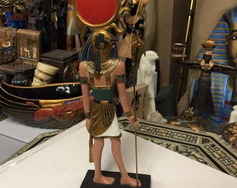 Unique Hand Gold  Leafed and Detailed  Egyptian God Ra Statue