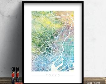 Tokyo Map - City Street Map of Tokyo, Japan - Art Print Watercolor Illustration Wall Art Home Decor Gift - Nature Series PRINT