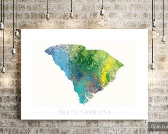 South Carolina Map - State Map of South Carolina - Art Print Watercolor Illustration Wall Art Home Decor Gift - NATURE PRINT