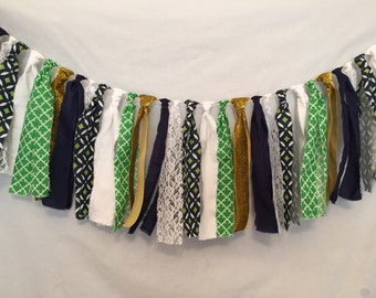 Fabric Garland/Green Fabric Bunting/Navy Blue Garland/Knot Tied Garland/Fabric Tassel Garland/Boy Baby Shower Decor/Green Fabric Garland