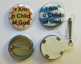 TEN I Am A Child of God Buttons - Pins or Pulls - Primary (10)