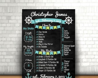 Nautical Theme Birthday Chalkboard Poster/First Birthday Sign/Nautical/Birthday Board