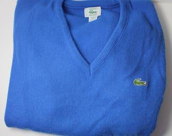 Izod Lacoste VINTAGE Men's XL Blue V-Neck Sweater w Gator