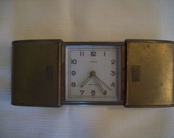 Semca Brass Travel Alarm Clock with Expanding Case