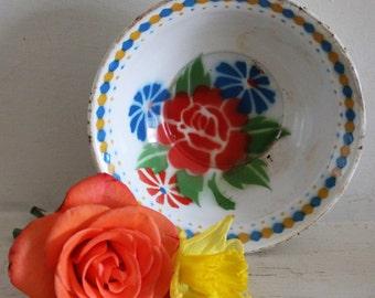 Reserved for eun soon kim Vintage Floral Enamel Bowl