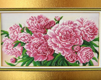 Gift-for-her-Gift-for-women-Flowers for wall-Beaded painting-Beads picture-Interior gifts-Decor room girls-Valentines gift-for her birthday