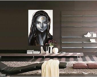 """Portrait XL  39"""" x 27"""" in Portrait face art black white original acrylic painting Contemporary Fine Art"""