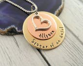 Sister Of An Angel Necklace~ Custom Memorial~ Memorial jewelry~ Sympathy Jewelry~ Loss of Sister Brother~ Custom Name Necklace~ Angel Wing~