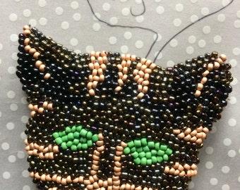 Black beaded cat brooch