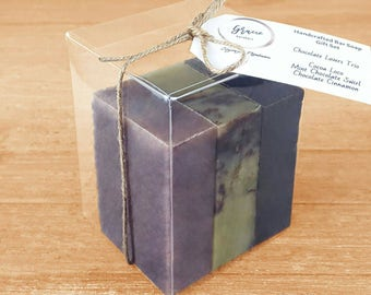 Organic Chocolate Soap Set - Vegan Soap Gift - Chocolate Soap - Mint Chocolate Soap - Cinnamon Chocolate Soap - Essential Oil Soap