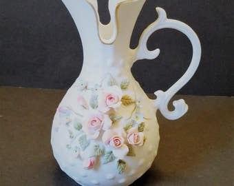 Lefton China Floral Pitcher Vase