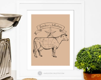 Beef Cuts Poster Cow Print Butcher Diagram Printable Kitchen