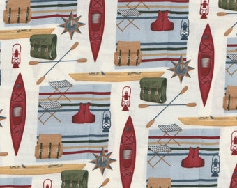 NEW!  River Journey - Per Yd - Moda by Holly Taylor- Canoes on White
