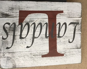 Custom Name Sign Whitewash over Black, stained or whitewash over brown