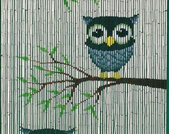 Cute Owls Bamboo Beaded Curtain