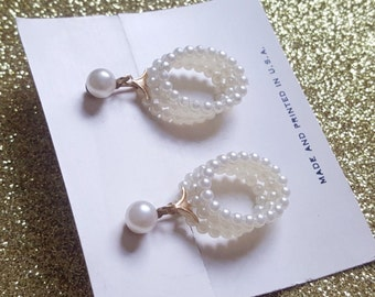 Vintage new old stock pearl ball oval hoop earrings