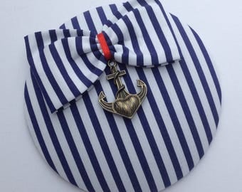 Fascinator maritime blue and white striped with metal anchor and loop
