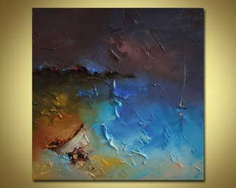 Oil Painting, Oil Painting Abstract, Seaside, Modern Art, Abstract Canvas Art, Original Artwork, Canvas Wall Art, Bedroom Decor, Wall Decor